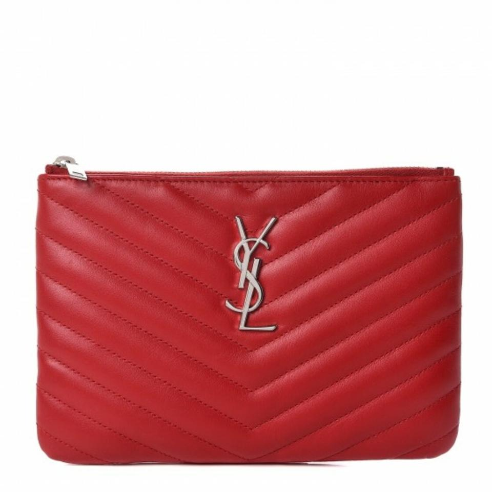 49b2174ebf56 Saint Laurent Monogram Ysl Chevron Zip-top Pouch Red Quilted Leather ...