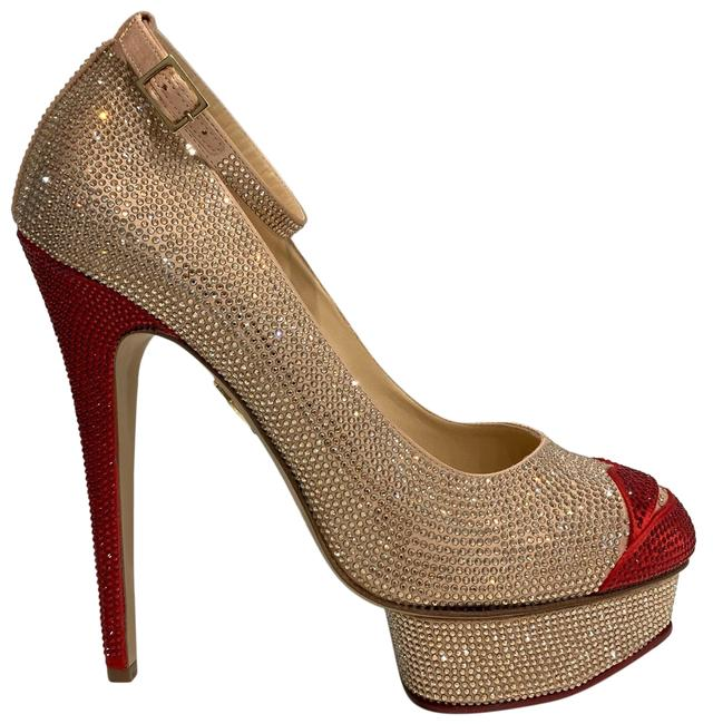Charlotte Olympia Red and Tan Kiss Me Dolores Platforms Size EU 42 (Approx. US 12) Regular (M, B) Charlotte Olympia Red and Tan Kiss Me Dolores Platforms Size EU 42 (Approx. US 12) Regular (M, B) Image 1
