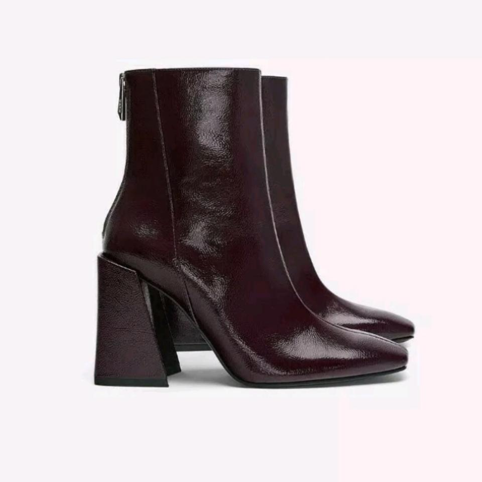 efab6eb3864 Zara Burgundy Patent Finish Heeled Ankle Ref 3110/001 Boots/Booties ...