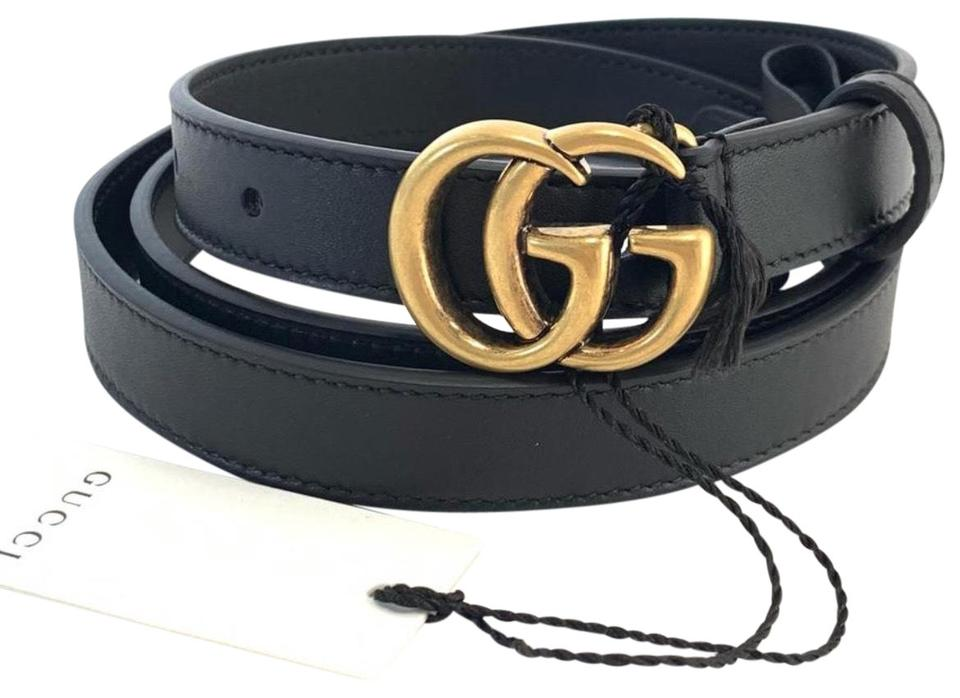 0044899b65d Gucci Black Leather with Double G Buckle Size 85 Belt - Tradesy