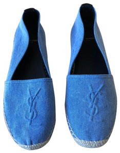 Saint Laurent Ysl Monogram Espadrille Denim Blue Flats