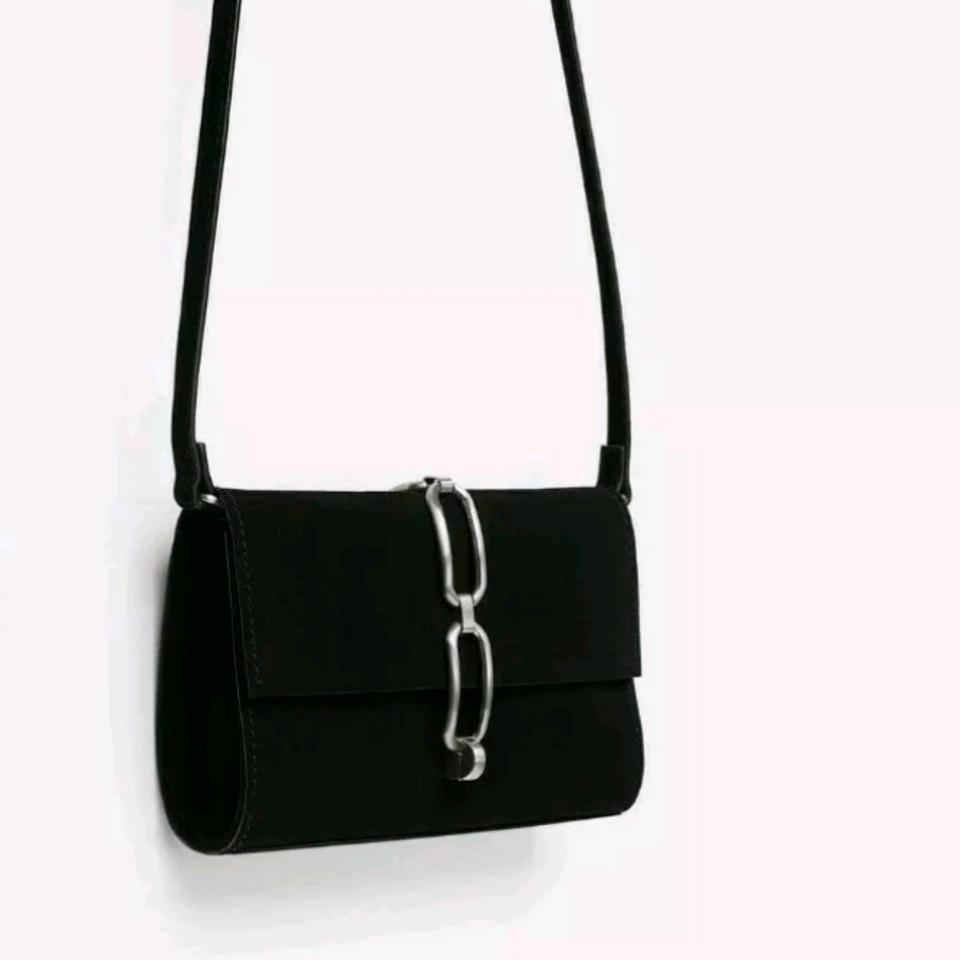 6c4d8ecec94 Zara New with with Chain Link Detail Black Leather Cross Body Bag - Tradesy