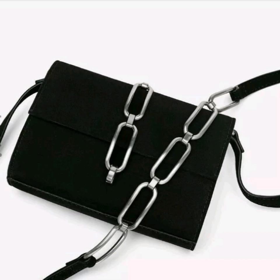 a9cf915e1b9 Zara New with with Chain Link Detail Black Leather Cross Body Bag ...