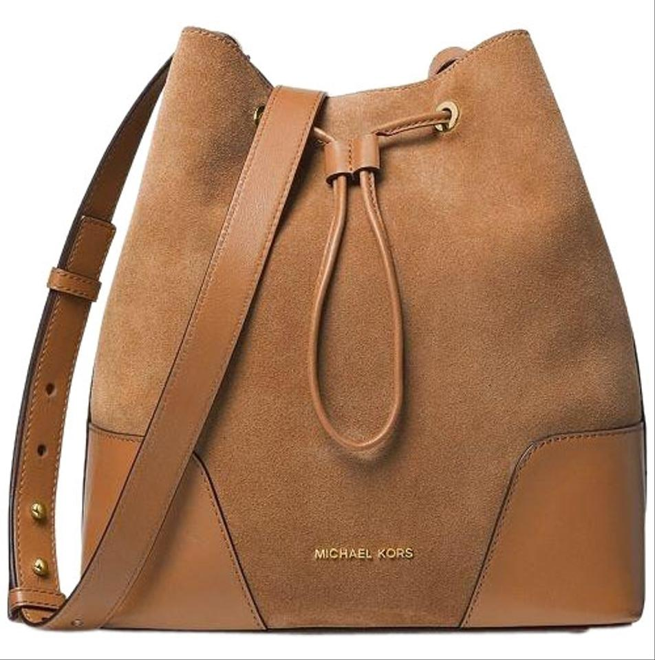 ad3b39b362 MICHAEL Michael Kors Cary Small Bucket Crossbody Brown Suede Leather  Messenger Bag