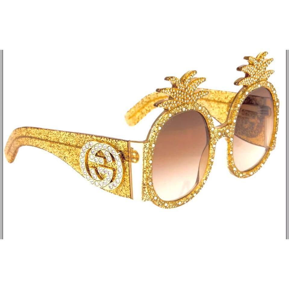 0e0b85f212b Gucci Gold Glitter Pineapple Hollywood Forever Collection Sunglasses -  Tradesy