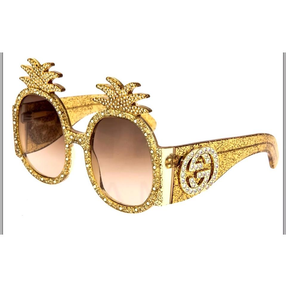 30f8a96bfa5 Gucci Gold Glitter Pineapple Hollywood Forever Collection Sunglasses ...