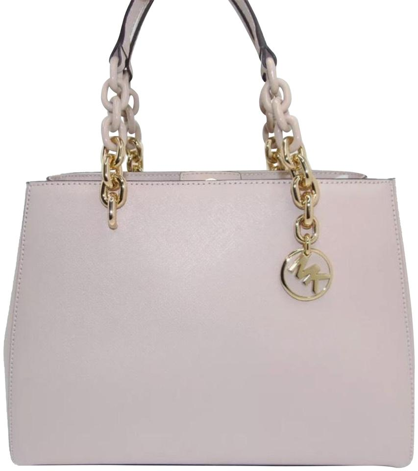 e7cab6fdc261 MICHAEL Michael Kors Women s Medium Cynthia Saffiano Convertible Top-handle  - Soft Pink Leather Satchel