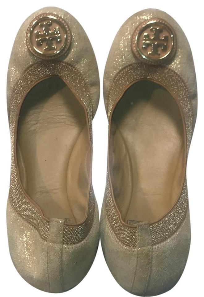 cbe53ecfa273 Tory Burch Gold Metallic Suede Flats Size US 8 Regular (M