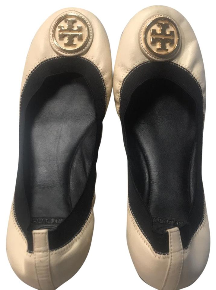 86447d7037dc Tory Burch Nude and Black Gold Detail Flats Size US 8 Regular (M