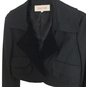 Hache Croppped Made In Italy Wool Blue/grey pinstripe with black Blazer