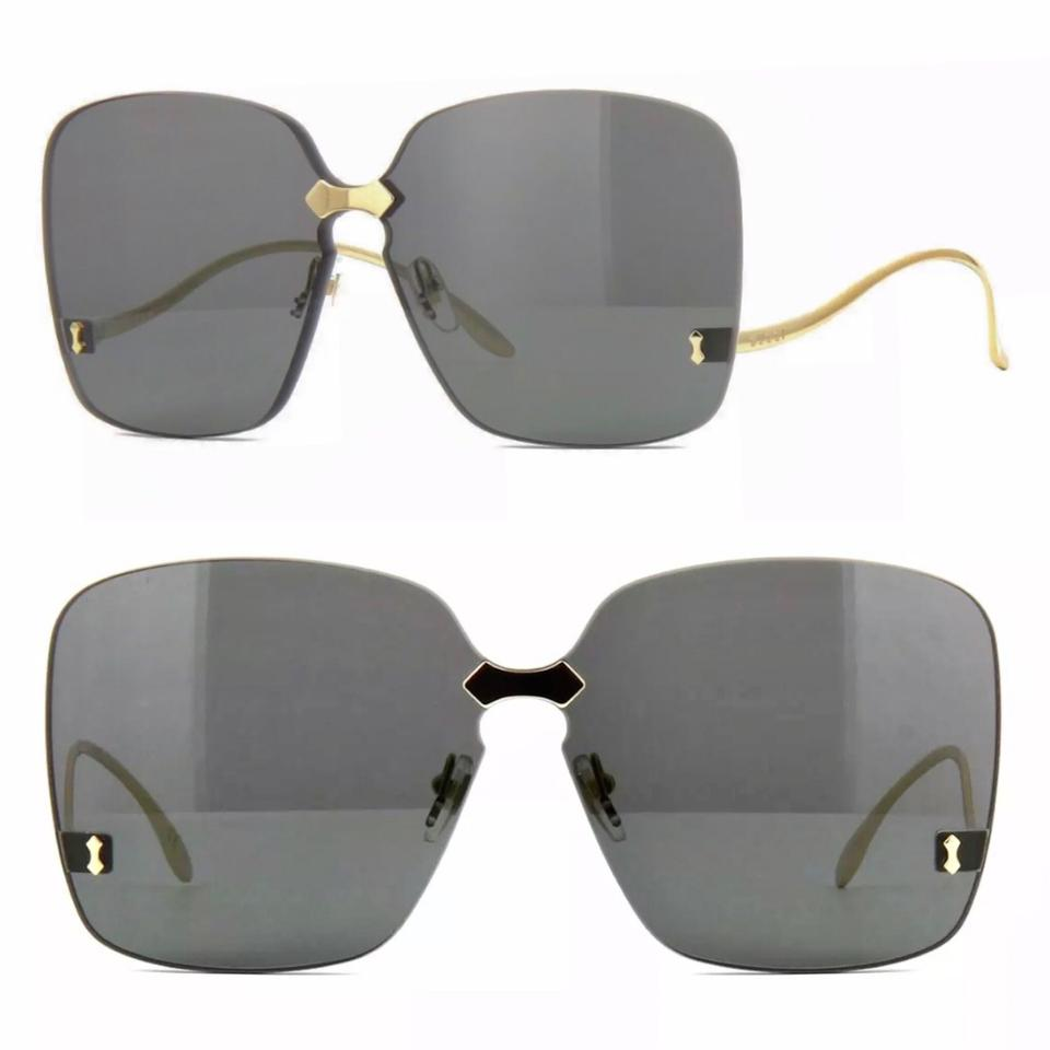 8263ee389af Gucci Gold Grey Square Rimless Gg0352s 001 Sunglasses - Tradesy