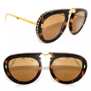 8b01616d1bd Gucci Multi Color Brown Rounded Cat Eye Gg 0179sa 003 Sunglasses ...