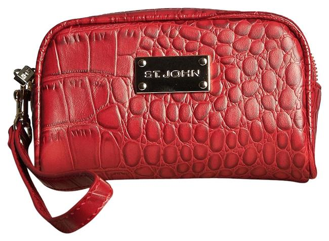 Item - Reptile Print Red Leather Wristlet