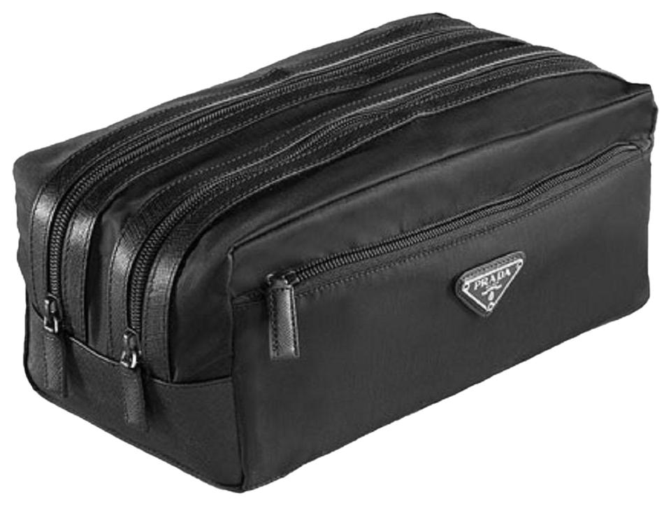 9dc2baf163d8 Prada Tessuto Leather Trim Men s Toiletry 2na030 Black Nylon Weekend Travel  Bag