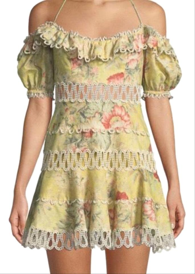 ca015cc9959e ZIMMERMANN Mustard Melody Off The Shoulder Floral Mini Cocktail Dress