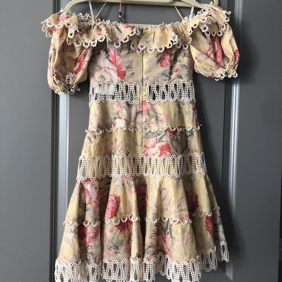9acab51dc4bd ZIMMERMANN Mustard Melody Off The Shoulder Floral Mini Short Cocktail Dress  Size 0 (XS) - Tradesy