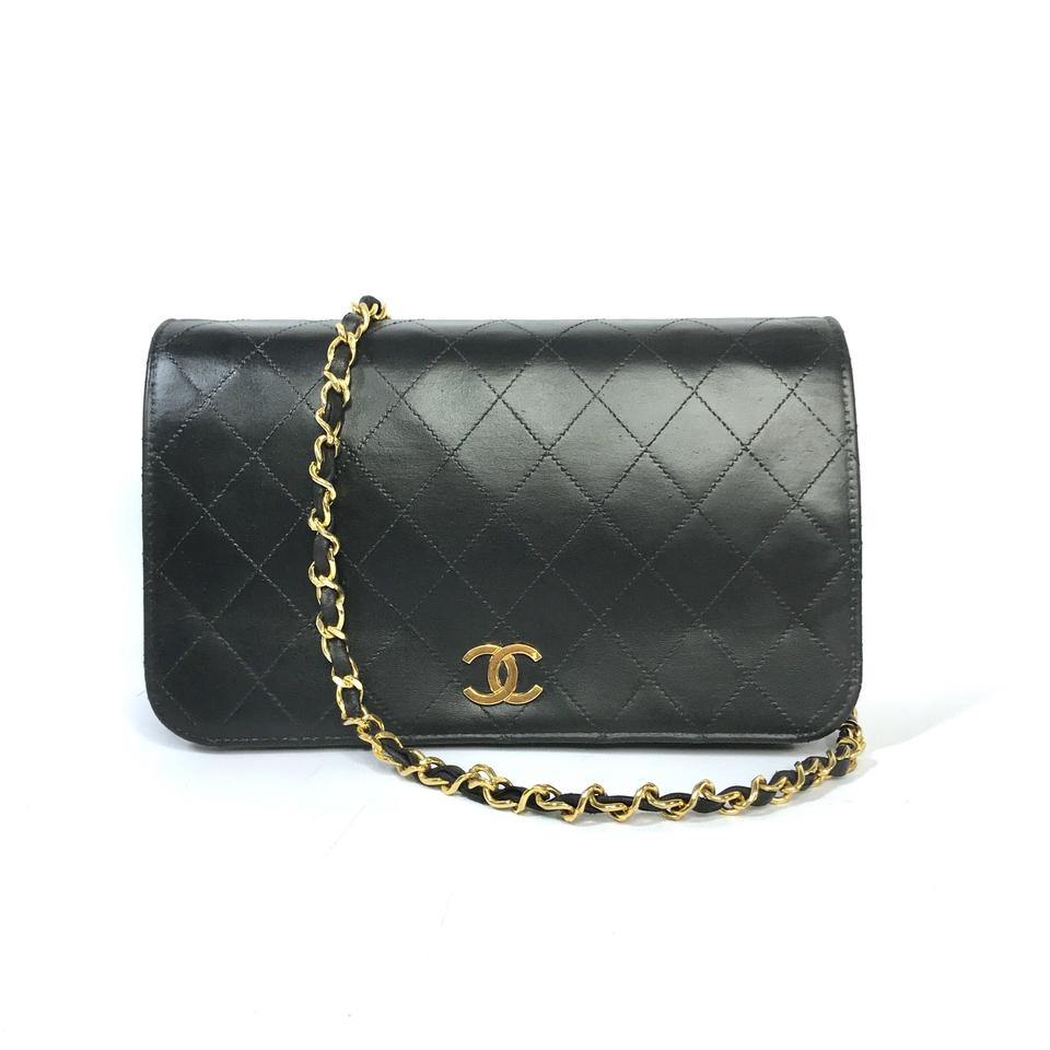 302d6f15be41 Chanel Wallet on Chain Vintage Flap Black Leather Cross Body Bag ...
