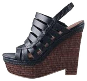 Elizabeth and James Leather Wedge Black Sandals