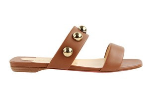 Christian Louboutin Studded Flat Brown Sandals