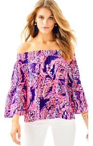 Lilly Pulitzer Open Shoulder Ruffle Print Flowy Top Navy