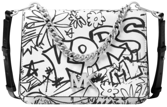 Item - Graffiti Print White and Black Leather Cross Body Bag