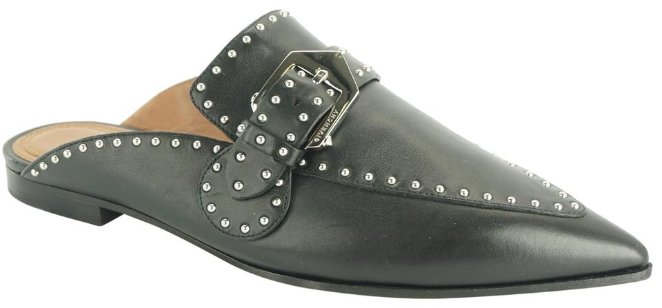 94175f9f953 Givenchy Black Leather Elegant Studded Loafer Pointed Toe Flat Mules ...