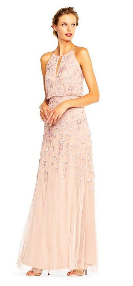 d245b44037aa Adrianna Papell Blush Pink Beaded Blouson Halter Gown Long Formal ...