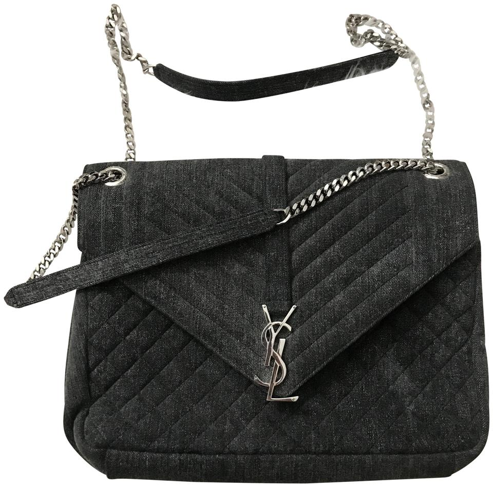 922b2f0537f1 Saint Laurent Monogram Ysl Large Envelope Chain Handbag Frosted Black Denim  Shoulder Bag