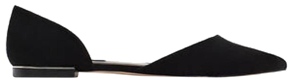 4328c985a37 Zara New Without Tags Faux Suede Black D orsay Point W  Metal Accent Flats