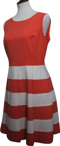 Coral and White Maxi Dress by Nine West Striped Polyester