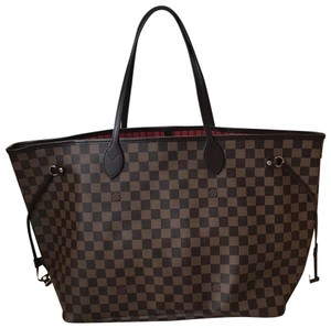 Louis Vuitton Neverfull Gm Monogram Tote in DAMIER EBENE  RED d703e5df4a4