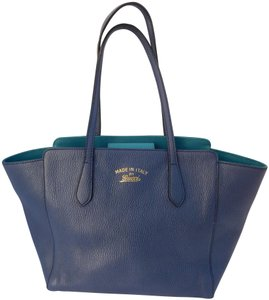 334457ffa1a6 Gucci Leather Swing Blue Leather Tote in Navy Turquoise