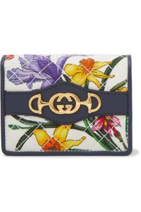Gucci Trapuntata leather-trimmed floral-print faille cardholder
