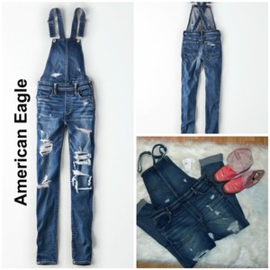 American Eagle Outfitters Distressed Bibs Bib Overalls Tradesy Skinny Jeans-Distressed