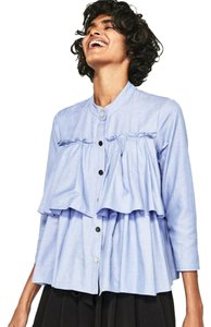 Zara Ruffle Chambray Denim Silver Hardware Button Down Shirt