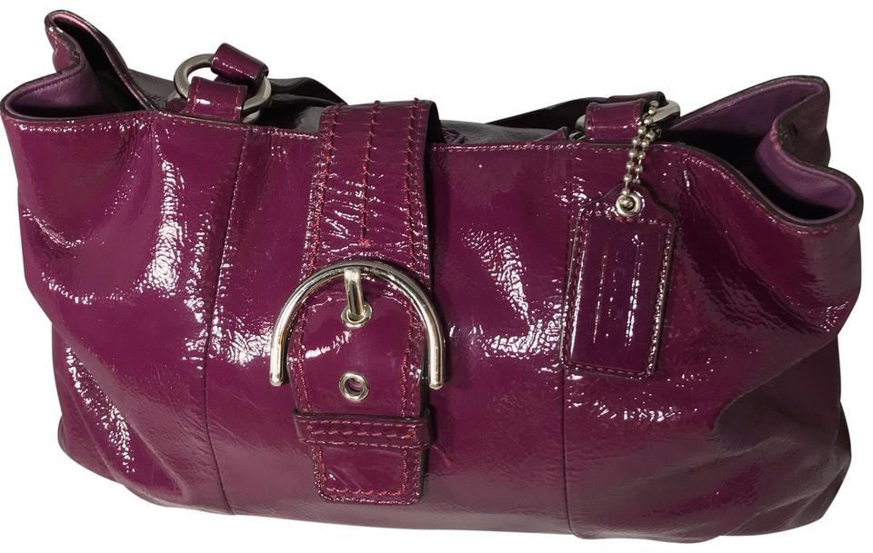 aa86c27129e27 Coach Purse Plum Patent Leather Shoulder Bag - Tradesy
