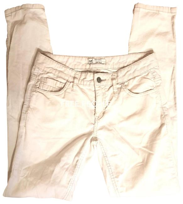 """Free People Off White/Cream White/Cream Corduroy Jeans-32"""" Inseam Skinny Jeans Size 4 (S, 27) Free People Off White/Cream White/Cream Corduroy Jeans-32"""" Inseam Skinny Jeans Size 4 (S, 27) Image 1"""