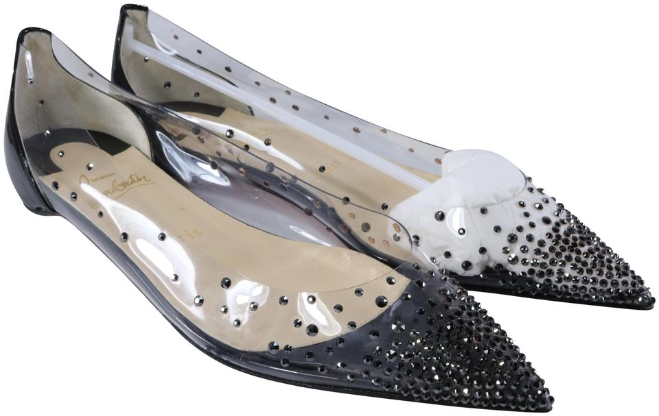 Christian Louboutin Black Pvc Degrastrass Clear Rhinestone Pointed B351 Flats Size Eu 38 5 Approx Us 8 5 Regular M B 33 Off Retail