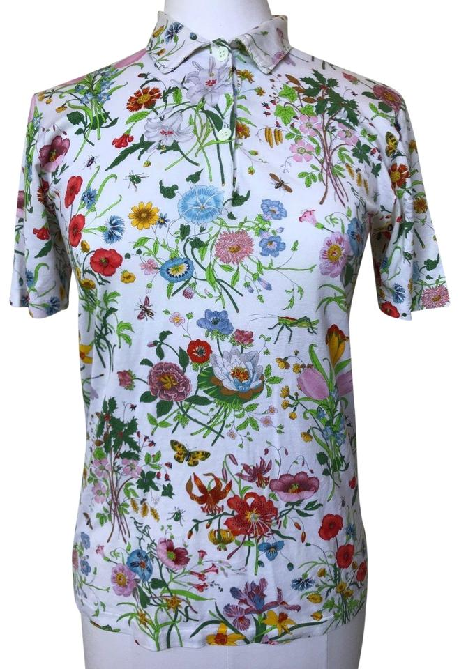3a421fd1f9a8 Gucci Flora Floral Blooms Flower Polo Tee Shirt Size 6 (S) - Tradesy