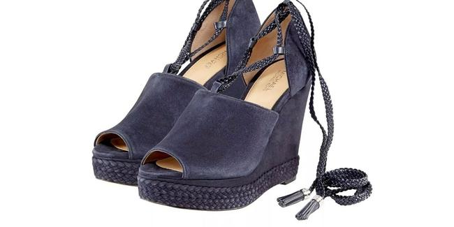 Item - Admiral Blue Hastings Lace Up Wedges Pumps Size US 8 Regular (M, B)