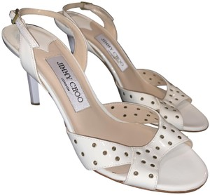 Jimmy Choo Slingback Patent Leather Keyhole Hole Metal Off White Sandals