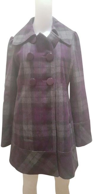 Item - Purple and Grey Plaid Wool Coat Size 8 (M)
