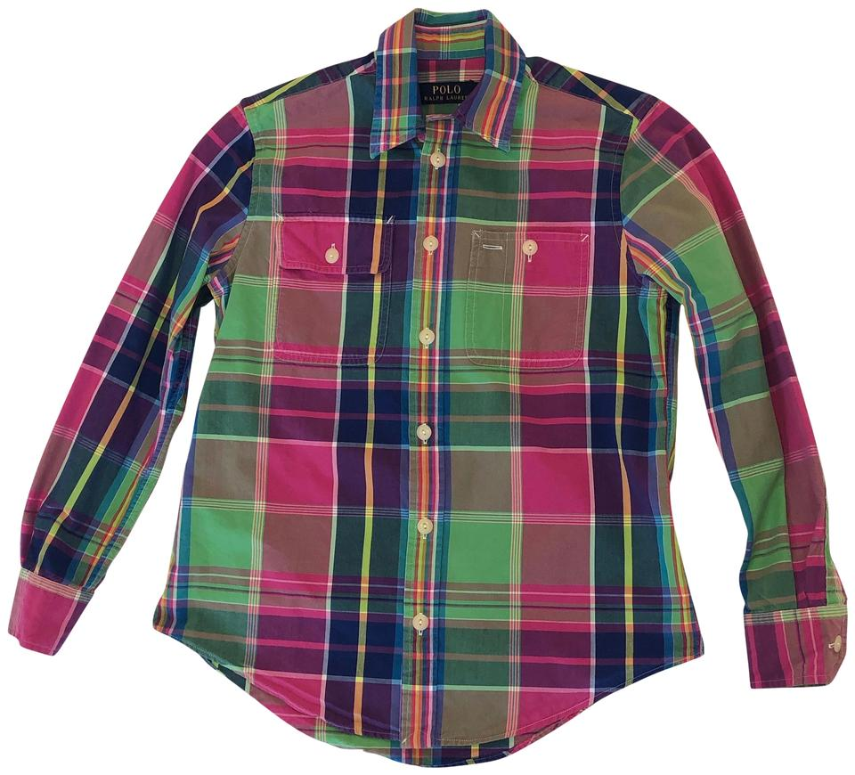 eb4ff0ad Polo Ralph Lauren Multicolor Plaid Cotton Shirt Button-down Top Size 0 (XS)  67% off retail