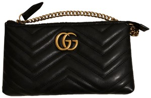 e982525d49ff Added to Shopping Bag. Gucci Cross Body Bag. Gucci Marmont Gg Mini Chain  Black Leather ...