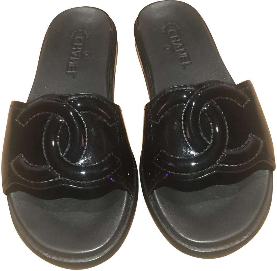 de2659e6cb27 Chanel Black Cc Patent Leather Mules   Slides Sandals Size EU 39 ...
