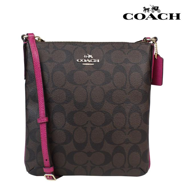 Item - Signature North / South / # F35940 Brown and Pink Ruby Canvas Cross Body Bag