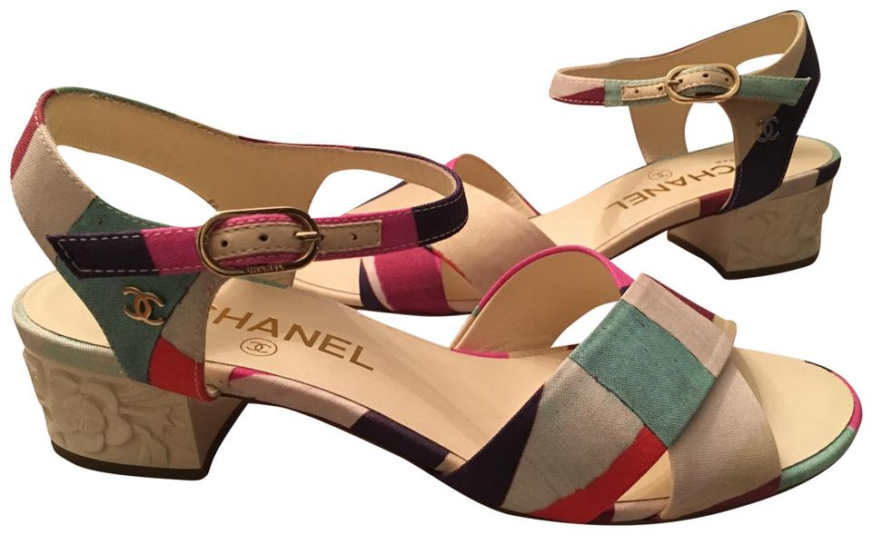 ab36c72899e2 Chanel Block Heel Leather Strappy Ankle Strap New multicolor   beige Sandals  Image 0 ...