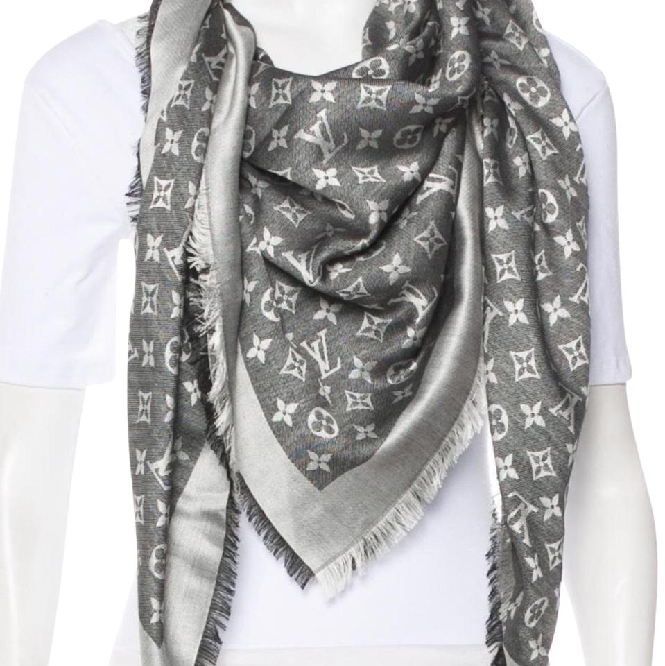 df61fe83e Louis Vuitton Black Denim/ Gray/ Silver Monogram Shawl Scarf/Wrap ...