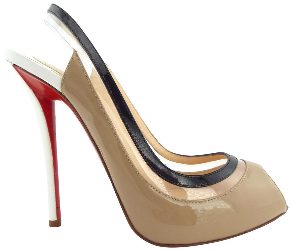 d0a5537ff8d Christian Louboutin Beige Nude White Black Patent Leather Open Toe Sling  Pumps. Size  EU ...