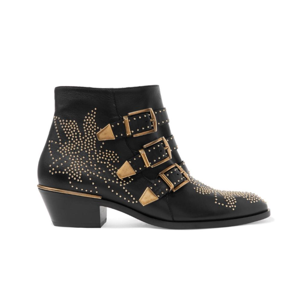 4223a0a2 Chloé Black Susanna Studded Leather Ankle Boots/Booties Size EU 37.5  (Approx. US 7.5) Regular (M, B)